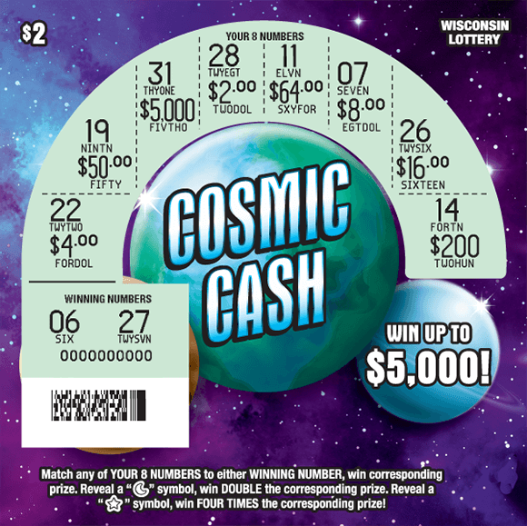 image of scratch ticket with a purple blue and black background of a galaxy and the planets are scratched revealing the winning numbers on scratch ticket from Wisconsin Lottery