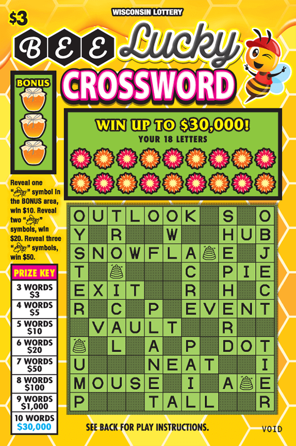 image of scratch ticket with yellow hexagon tiles as the background and a picture of a winking bee in the top right corner flowers covering the letters with green and black boxes in the crossword grid on scratch ticket from wisconsin lottery