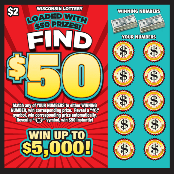 image of scratch ticket with a red background and a large fifty dollar in the middle of the ticket with a blue play area on the side with circle dollar bill symbols covering the winning numbers on scratch ticket from wisconsin lottery