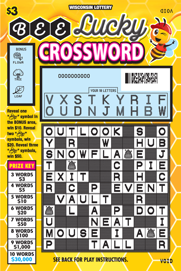 image of scratch ticket with yellow hexagon tiles as the background and a picture of a winking bee in the top right corner with the winning letters revealed and black and white tiles revealed in the crossword grid on scratch ticket from wisconsin lottery