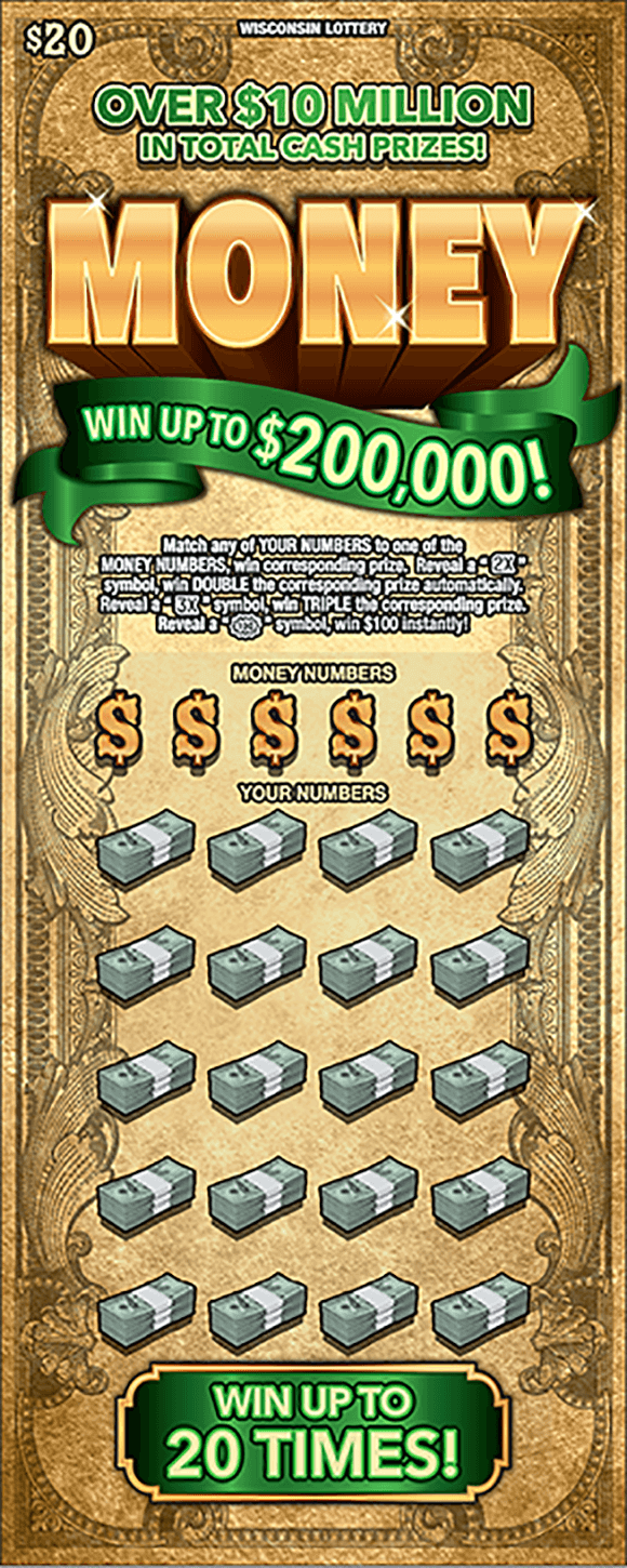 image of scratch ticket with a dollar bill pattern as the background and the word money in large gold shiny letters at the top and the winning numbers are covered with dollar bill symbols and the play area is covered with stacks of dollar bills on scratch ticket from wisconsin lottery