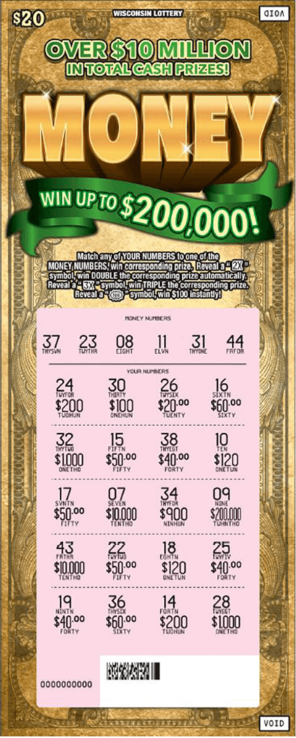 image of scratch ticket with a dollar bill pattern as the background and the word money in large gold shiny letters at the top and the play area is scratched revealing the winning numbers on scratch ticket from wisconsin lottery