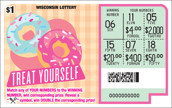 light peach colored checkered background with an image of two bright blue and pink donuts with sprinkles on top of the donuts and the play area is scratched revealing the winning numbers on scratch ticket from wisconsin lottery