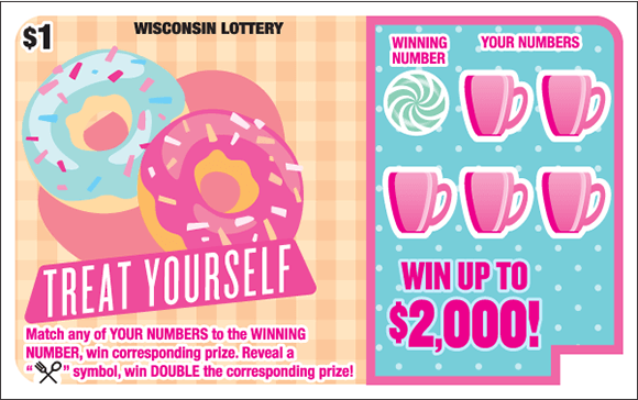 light peach colored checkered background with an image of two bright blue and pink donuts with sprinkles on top of the donuts and the winning numbers are covered with bright pink coffee cups and a bright blue background on scratch ticket from wisconsin lottery