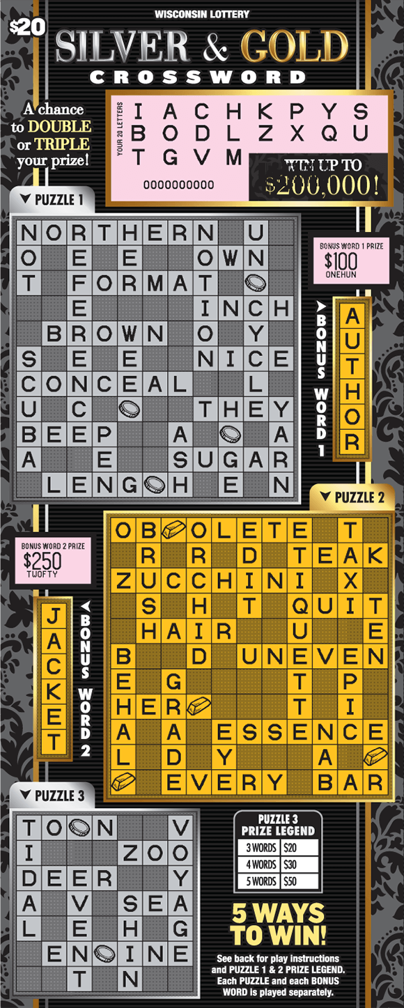 black background and three grids with the top and bottom ones printed in gray and the middle in gold. the winning letters are scratched revealing a pink background on scratch ticket from wisconsin lottery