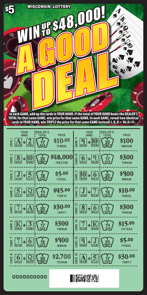 scratch ticket with a deck of cards poker chips and a green background. down below there is green background that is scratched and is now revealing the  winning numbers on scratch ticket from wisconsin lottery