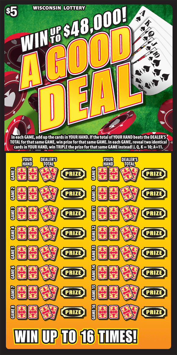 scratch ticket with a deck of cards poker chips and a green background. down below there is a yellow background with two cards playing cards covering the winning numbers on scratch ticket from wisconsin lottery