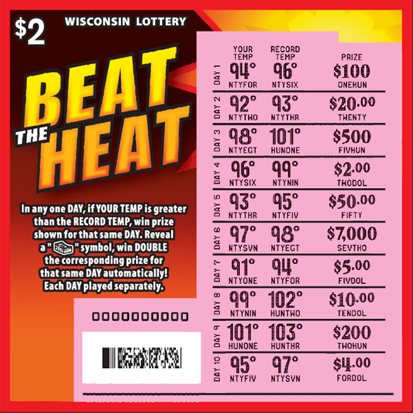 orange red and black background with a bright yellow sun in the top right corner. the play area is scratched revealing the winning numbers on scratch ticket from wisconsin lottery