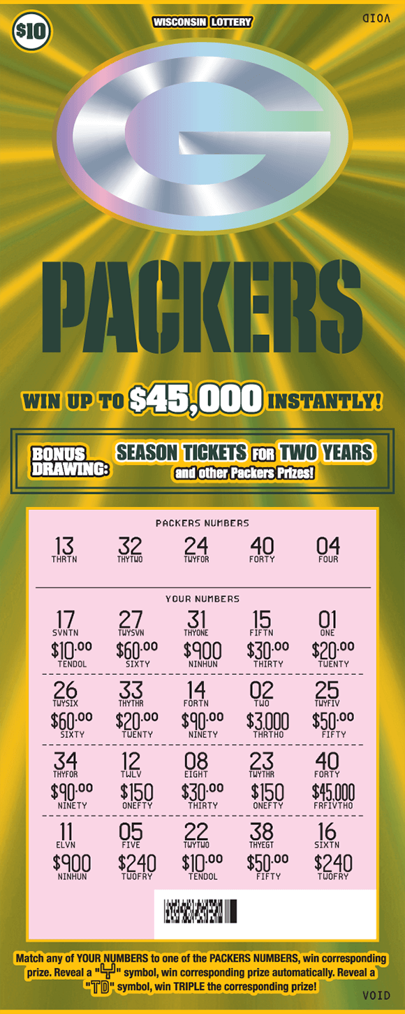 background is green and gold flashy fx lines with a silver green bay packers logo and the play area is scratched revealing the winning numbers on scratch ticket from wisconsin lottery