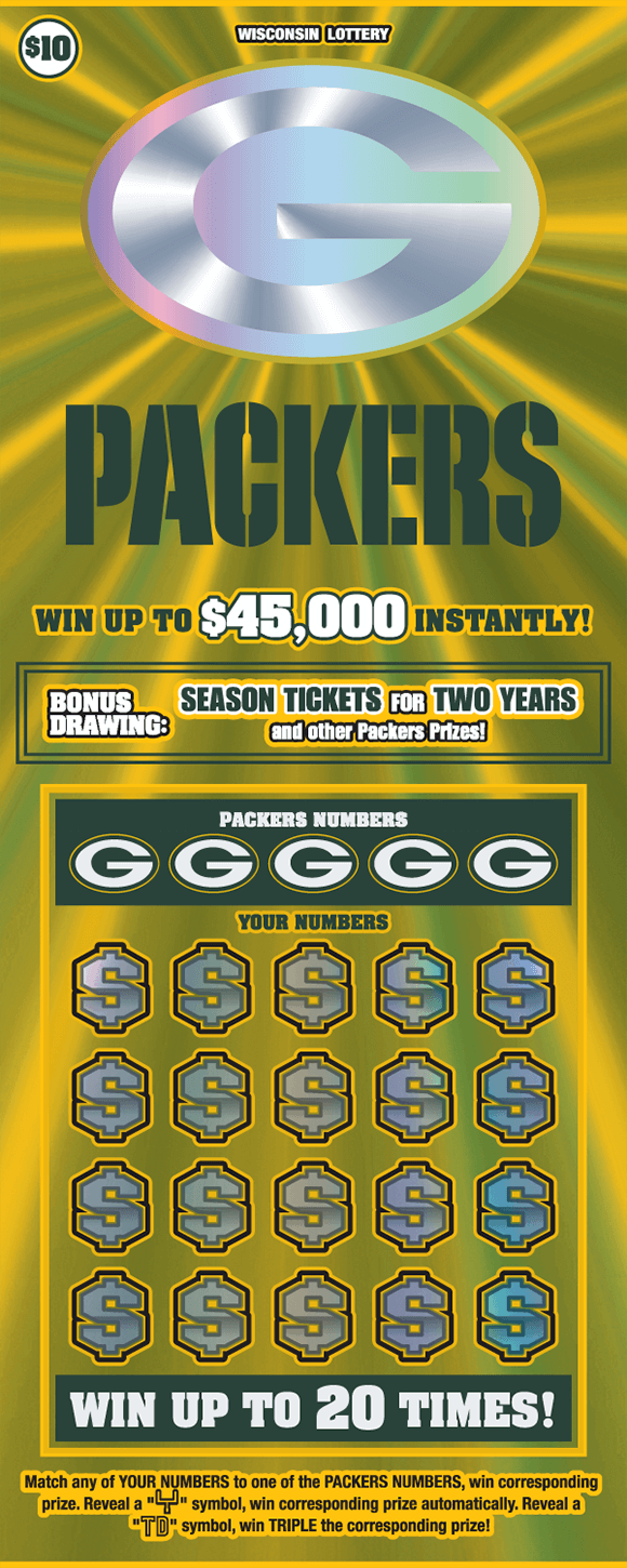 background is green and gold flashy fx lines with a silver green bay packers logo and the winning numbers covered with dollar symbols on scratch ticket from wisconsin lottery