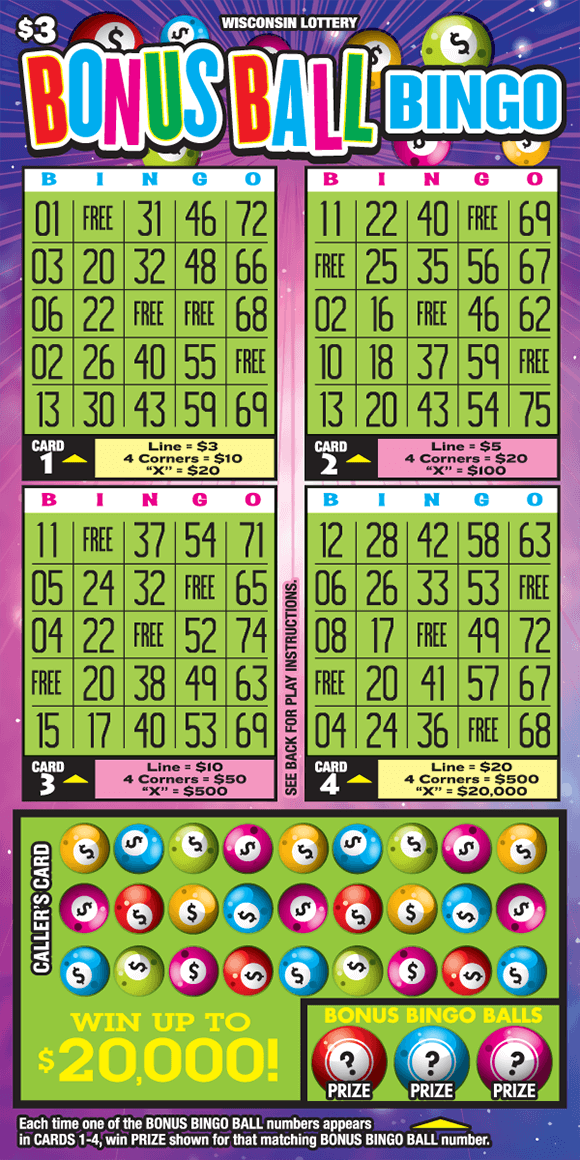 there are four square grids in a lime green color and a rectangle grid below covered with lime green and neon pool balls. the background of the ticket has flashing lines with sparkles and pool balls with dollar signs on them on scratch ticket from wisconsin lottery