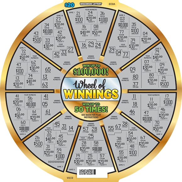 circle wheel with a gold outline and the play area scratched revealing a gray background with all of the winning numbers on scratch ticket from wisconsin lottery