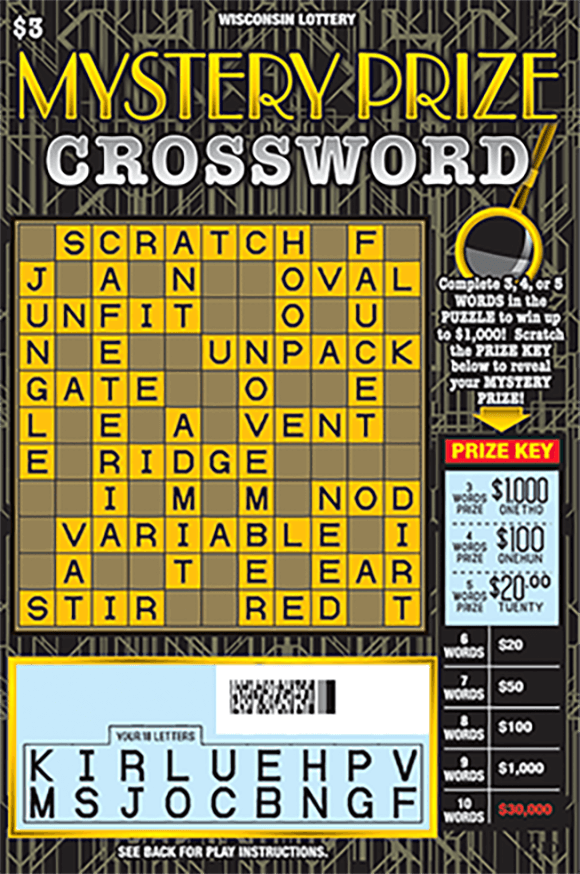 black background with gold lines and a crossword with yellow and black letter boxes in the crossword and the play area is scratched revealing the winning letters on scratch ticket from wisconsin lottery