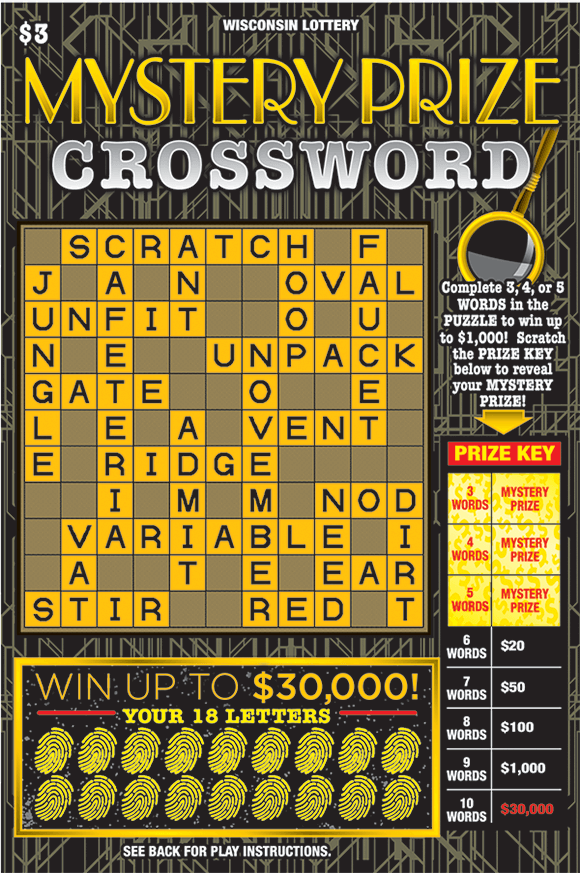 black background with gold lines and a crossword with yellow and black letter boxes in the crossword and the winning letters are covered with gold fingerprints on scratch ticket from wisconsin lottery