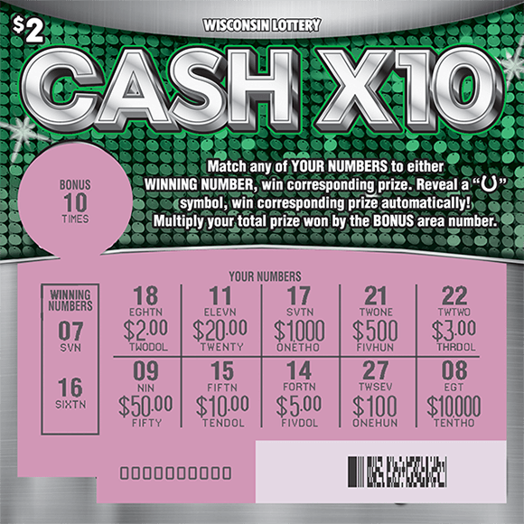 background of ticket is silver with green sparkly polka dots in the middle of the ticket. the play area is scratched to reveal the winning numbers and a pink background on scratch ticket from wisconsin lottery