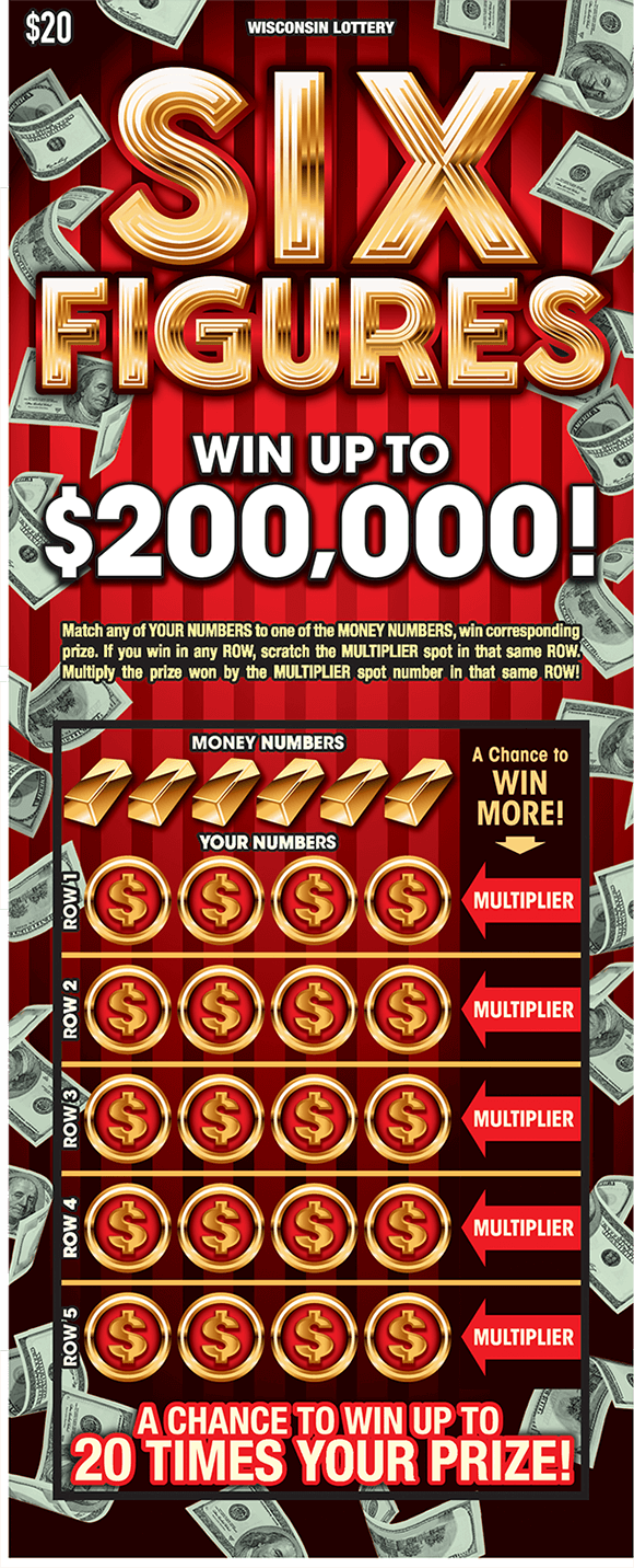 deep red background with many images of floating dollar bills on the border of the ticket and the winning numbers are covered by gold outlined coins on scratch ticket from wisconsin lottery