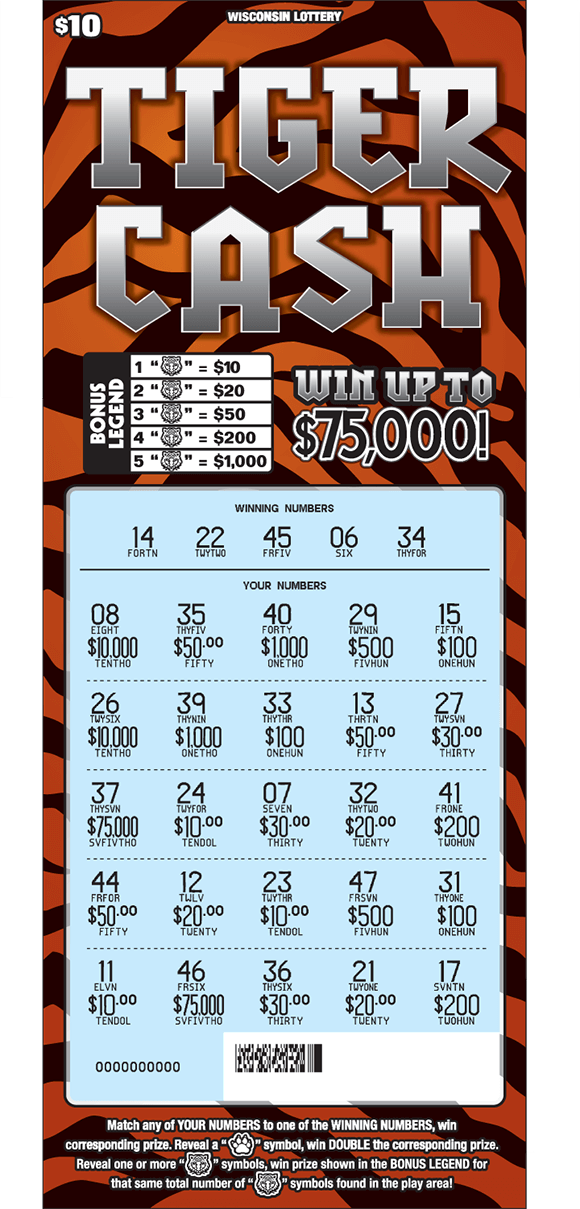 background of tiger cash ticket has orange and black tiger stripes and the play area is scratched revealing a light blue background on scratch ticket from wisconsin lottery
