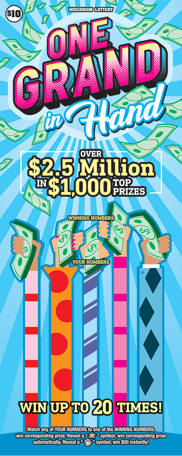 background of ticket is a light blue with colorful streamers covering up the winning numbers and cash floating around at the end of the tickets on scratch ticket from wisconsin lottery