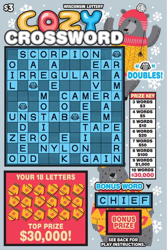 gray background with white snowflakes and gray bears in cozy sweaters in hats with the 18 letters covered by yellow hand gloves and a pink background on scratch ticket from wisconsin lottery