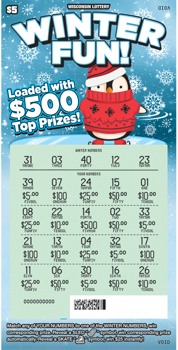 image of ticket with an icy background and a penguin skiing wrapped in a red blanket and hat with the winning numbers covered by red hats and gloves on scratch ticket from wisconsin lottery