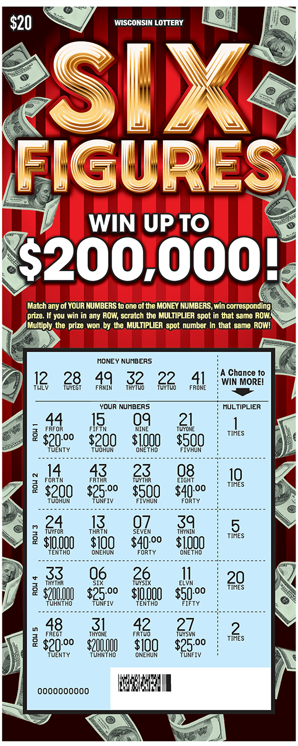 deep red background with many images of floating dollar bills on the border of the ticket and the play area is scratched revealing the winning numbers and a blue background on scratch ticket from wisconsin lottery