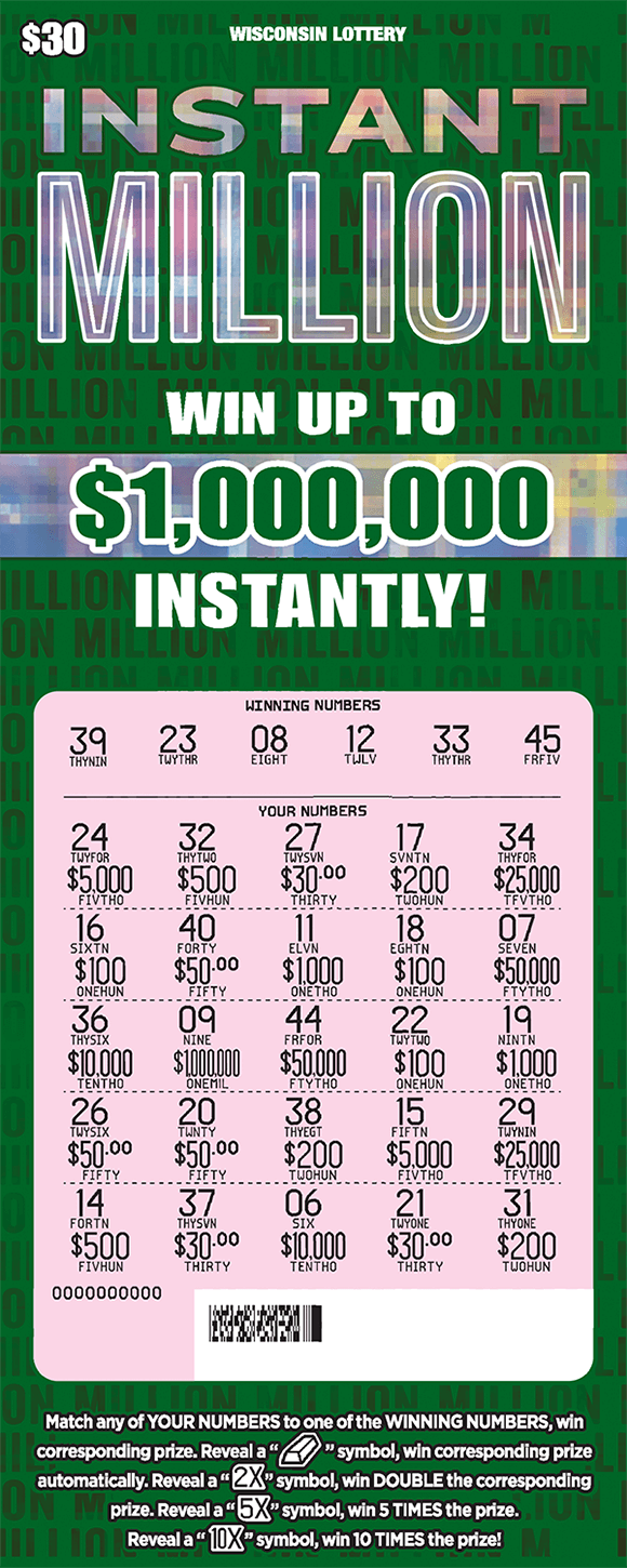 background of ticket is a deep green with the word million written in small print in lines across the entire ticket with the words written in a shiny silver fx effect on scratch ticket from wisconsin lottery