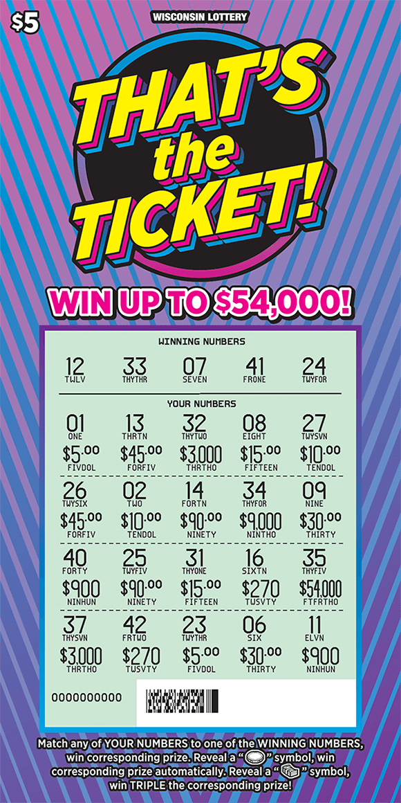 background is an ombre purple and pink with light blue stiped lines running across the ticket and the play area is scratched revealing the winning numbers on scratch ticket from wisconsin lottery