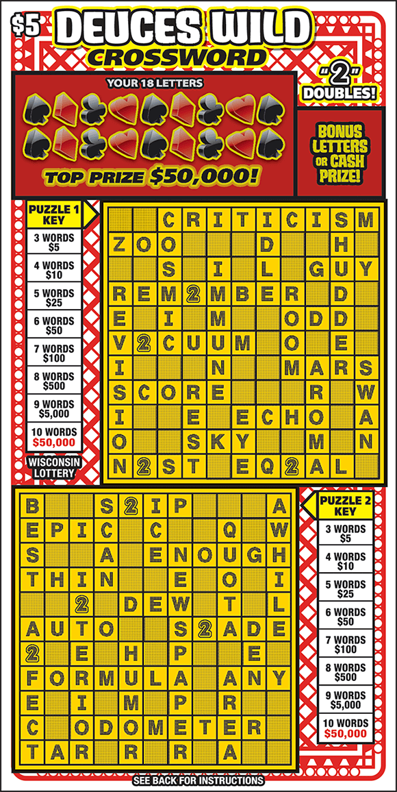 background of ticket is a criss cross red pattern that you would find on the back of a deck of cards with the winning letters covered by symbols used in playing cards and two yellow grids on scratch ticket from wisconsin lottery