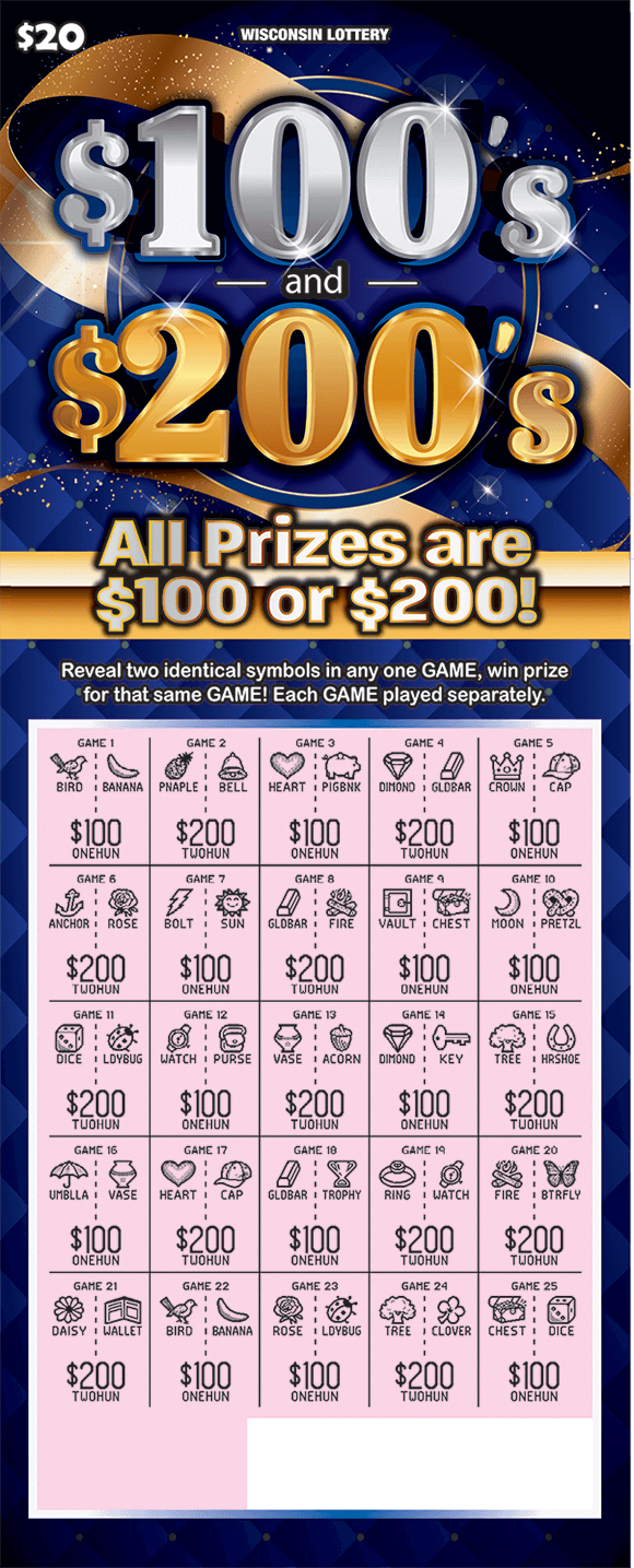 background of ticket is a deep blue with a gold bow gold lines and gold sparkles on scratch ticket from wisconsin lottery