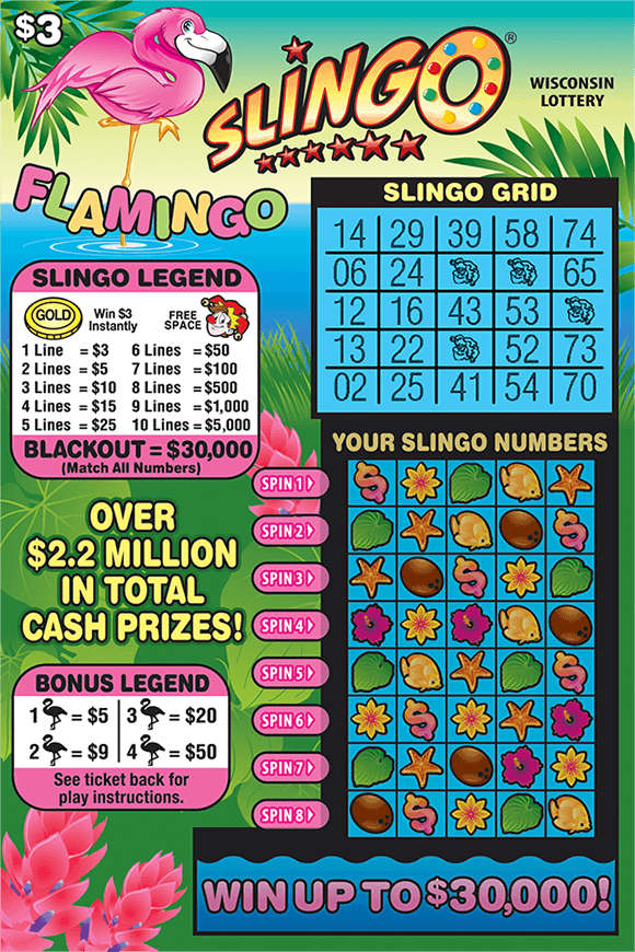 tropical background with long green grass pink flowers water and a pink flamingo standing in the water with the slingo grid in white large on the ticket on scratch ticket from wisconsin lottery