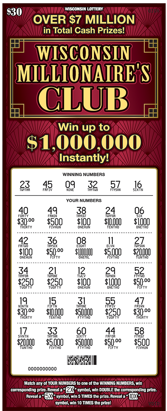 maroon background and wisconsin millionaires club written in big gold letters across the top of the ticket on scratch ticket from wisconsin lottery