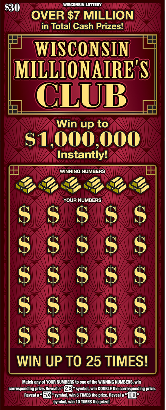 maroon background with gold dollar signs over the winning numbers and wisconsin millionaires club written in big gold letters across the top of the ticket on scratch ticket from wisconsin lottery