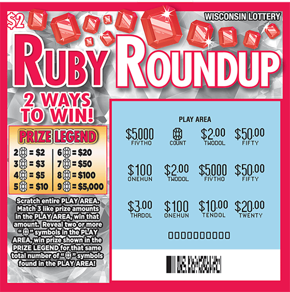 shiny silver background with red rubies lining the top of the ticket and bright red play area with gold dollar sign symbols covering the numbers on scratch ticket from wisconsin lottery