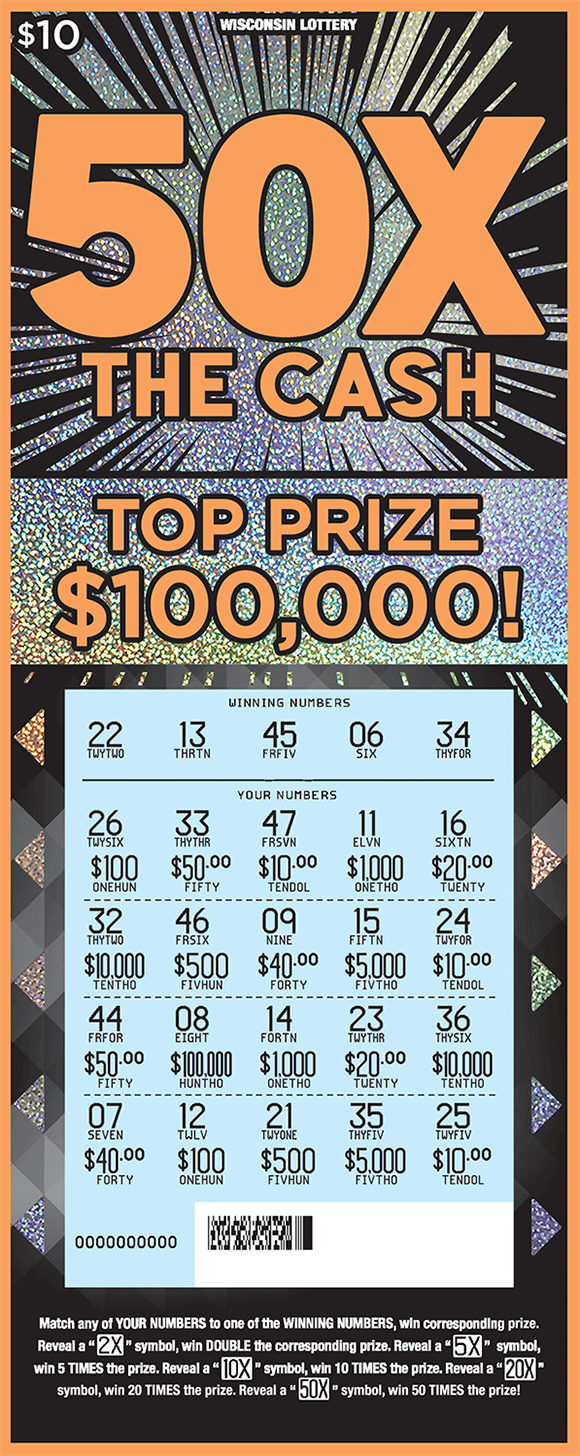 black background with sparkly silver starbursts coming from behind the name of the ticket 50x the cash in large orange print with scratched play area revealing numbers and prize amounts on ticket from wisconsin lottery