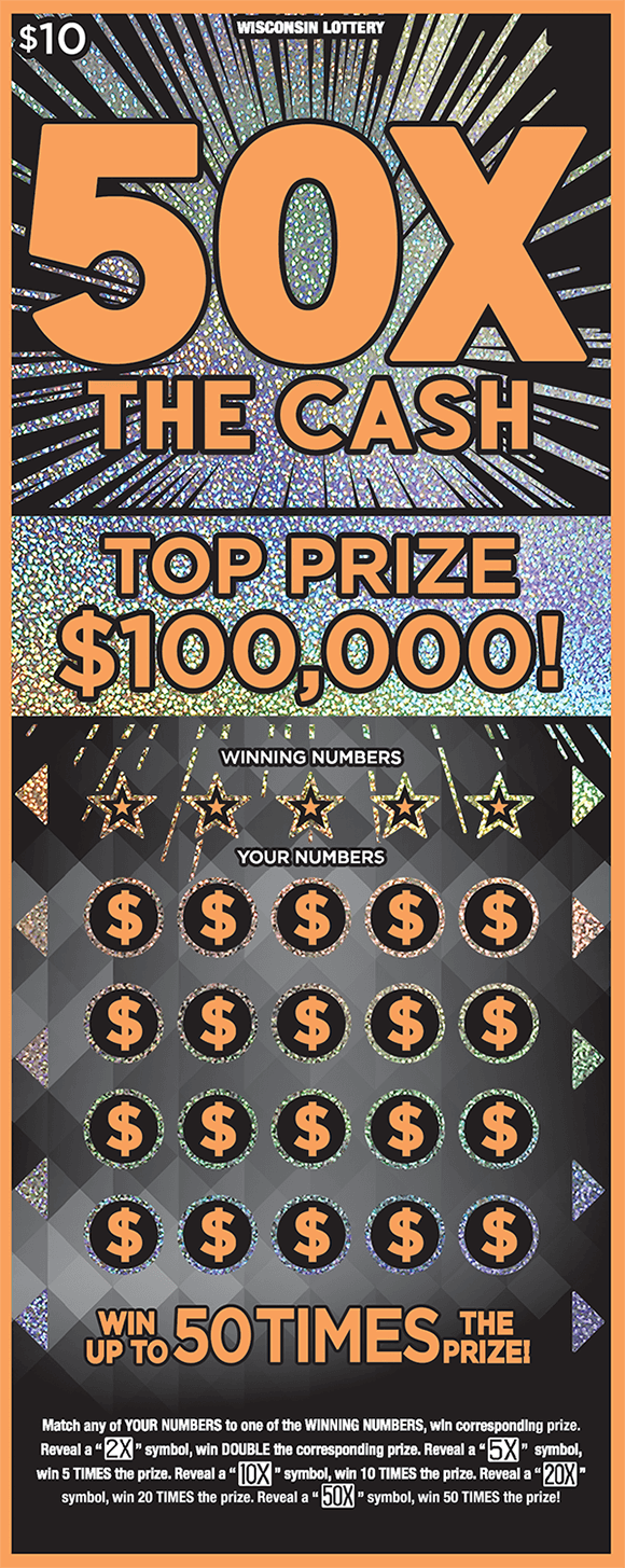 black background with sparkly silver starbursts coming from behind the name of the ticket 50x the cash in large orange print with orange dollar signs in play area on ticket from wisconsin lottery