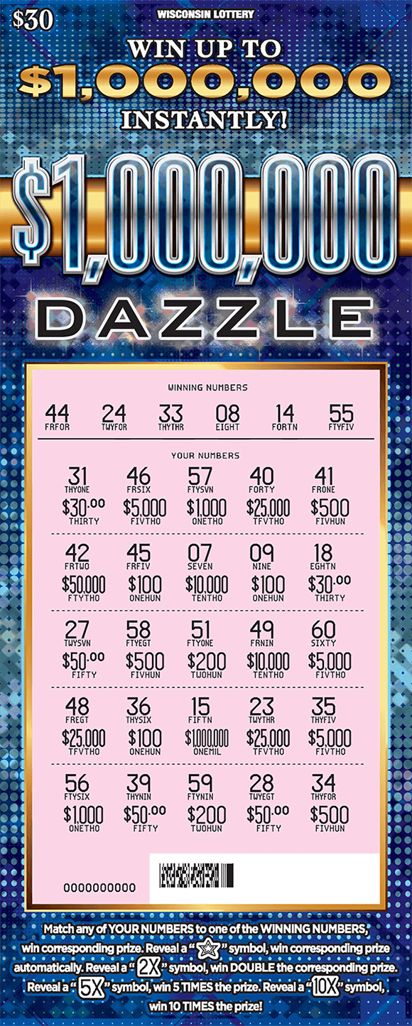 dark and light blue gradient background with polka dots scratched to reveal pink play area with numbers and prize amounts on ticket from wisconsin lottery