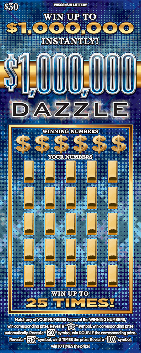 dark and light blue gradient background with polka dots and gold dollar signs with gold bars in the play area on scratch ticket from wisconsin lottery