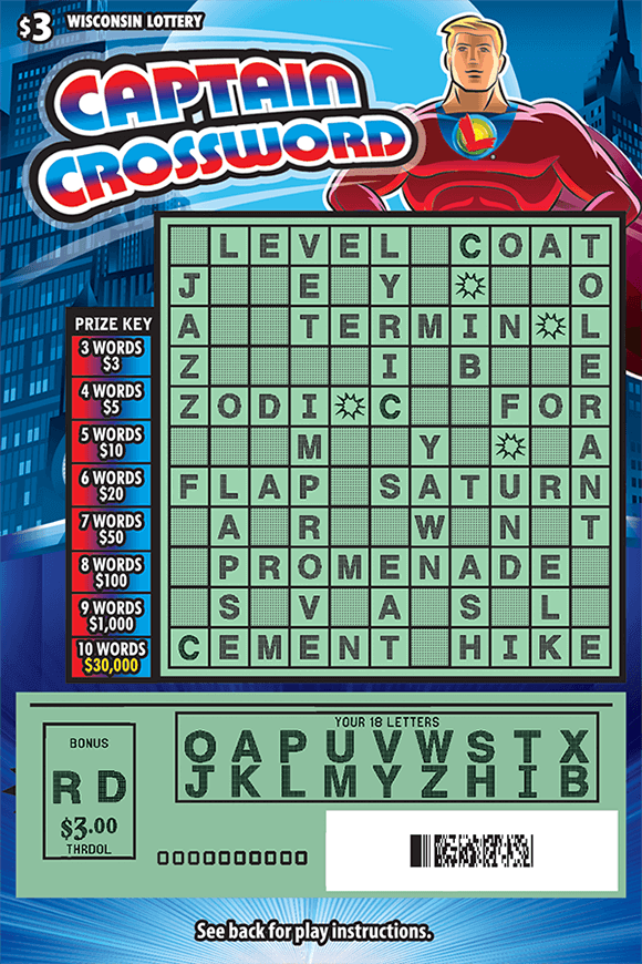 blue cityscape background on crossword ticket with american superhero in red suit with lottery logo wearing a cape with red white and blue lettering scratched to reveal letters and play area on scratch ticket from wisconsin lottery