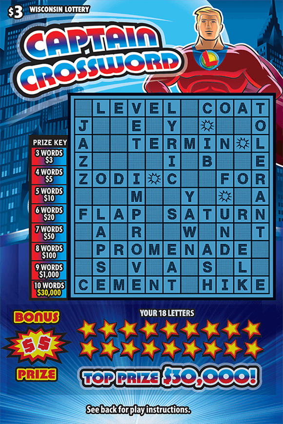 blue cityscape background on crossword ticket with american superhero in red suit with lottery logo wearing a cape and red white and blue lettering with stars covering letters in your letters area on scratch ticket from wisconsin lottery